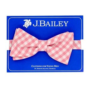 J Bailey Pink Gingham Bow Tie