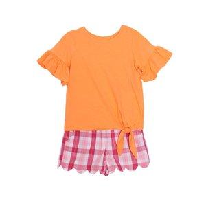 Mabel & Honey Orange Scallop Short Set