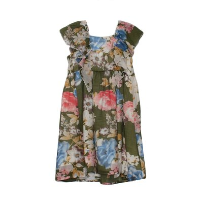 Isobella & Chloe Green Light Floral Ruffle Dress