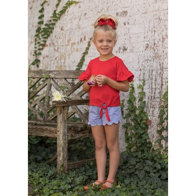 Mabel & Honey Red Scallop Short 2PC Set