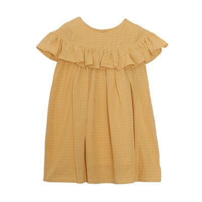 Mabel & Honey Yellow Mustard Woven Ruffle Dress