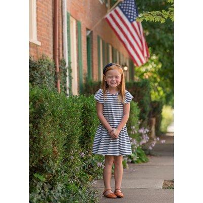 Mabel & Honey Navy Blue Stripe Knit Dress