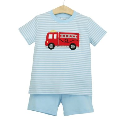Trotter Street Kids Firetruck Knit Short Set