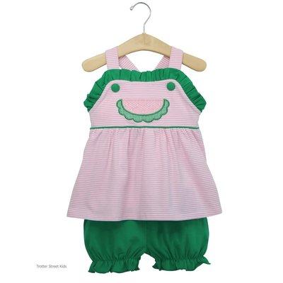 Trotter Street Kids Watermelon Knit Bloomer Set