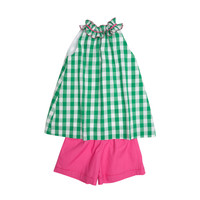 The Oaks Apparel Gemma Green/Fucshia Check Short Set