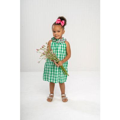 The Oaks Apparel Jordyn Green/Fuchsia Check Dress