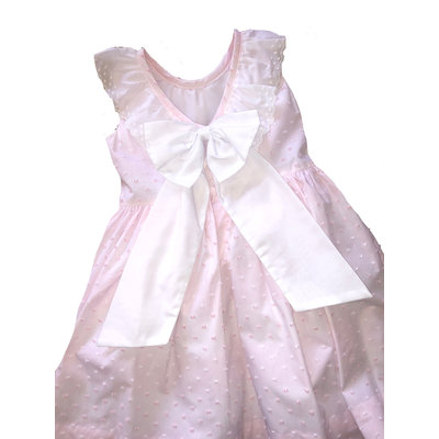 Little Threads Pink Plumetti With Lace Dress