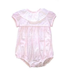 Little Threads Pink Plumetti Lace Romper