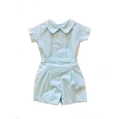 Lulu Bebe LLC Mint Pique 2PC Boy Short Set
