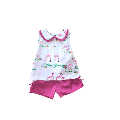 Le' Za Me, LLC Flamingo Pleated Short Set