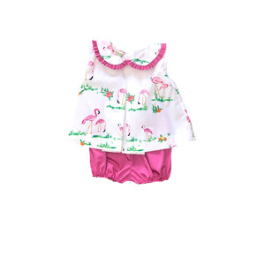 Le' Za Me, LLC Flamingo Pleated Bloomer Set