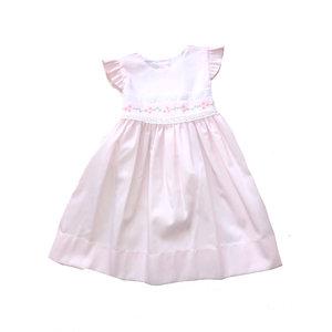 Lulu Bebe LLC Pink Butterfly Sleeve Pique Embroidered Dress