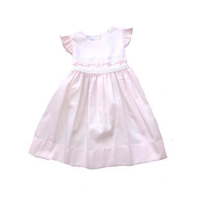 Lulu Bebe LLC Pink Butterfly Sleeve Pique Embroidered Dress