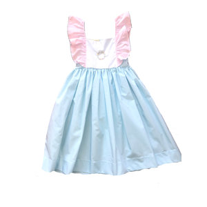Le' Za Me, LLC Aqua/ Lt Pink Embroidered Flutter Sleeve Dress