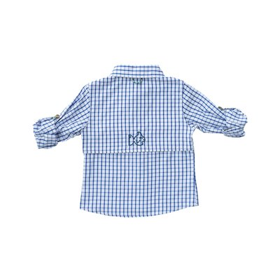 Prodoh Blueberry Pie Windowpane Vented Back Fishing Shirt