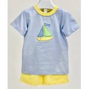 Ishtex Textile Products, Inc Sailboat Applique Boy's Short Set