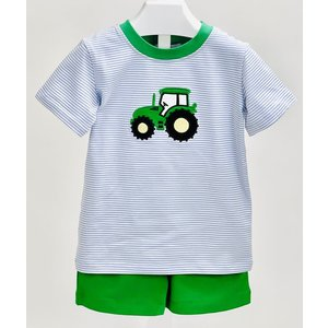 Ishtex Textile Products, Inc Tractor Applique Boy's Short Set