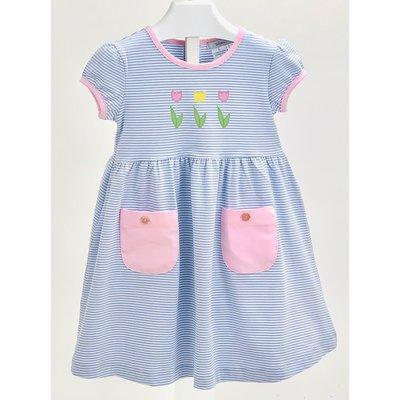Ishtex Textile Products, Inc Tulip Blue Stripe Empire Dress