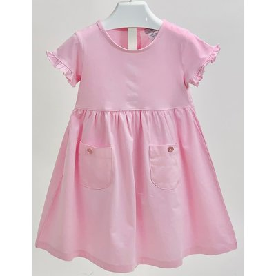 Ishtex Textile Products, Inc Solid Pink Empire Dress