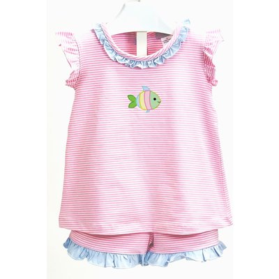 Ishtex Textile Products, Inc Fish Pink Stripe Short Set