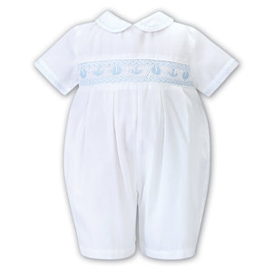 Sarah Louise White & Blue Crab/Anchor Smocked Romper