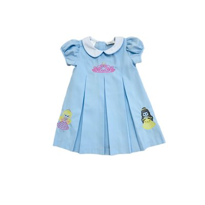 Lulu Bebe LLC Pink Crown Blue Embroidered Dress