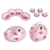 Pink Poppy USA Ballerina Bouquet Tin Tea Set in Carry Case