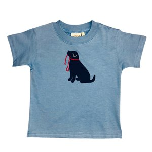Luigi Chambray Black Lab Sitting w/Leash T'shirt