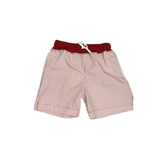 Luigi Deep Red/White Seersucker Waistband w/Tie Short