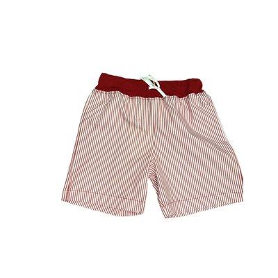 Luigi Deep Red/White Seersucker Waistband w/Tie Short