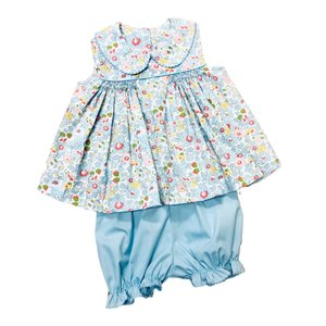 Delaney Blue Floral Sleeveless Smocked Front Peter Pan collar Bloomer Set