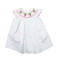 Delaney White Pink Dot Angel Wing Smocked Strawberry Bishop