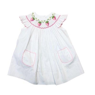 Delaney White Pink Dot Angel Wing Smocked Strawberry Bishop
