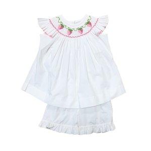 Delaney White Pink Dot Angel Wing Smocked Strawberry Bishop Top/Short Set