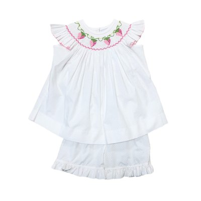 Delaney White Pink Dot Angel Wing Smocked Strawberry Bishop Top/Short Set