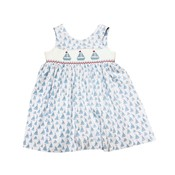 Delaney Soft Blue Knit Smocked Sailboat Wrap Sundress