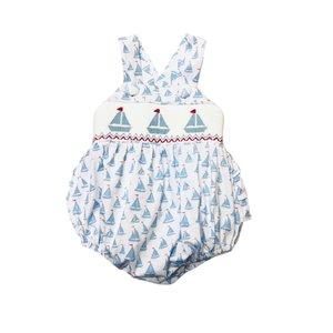 Delaney Girls Soft Blue Knit Smocked Sailboat Ruffle Sunsuit