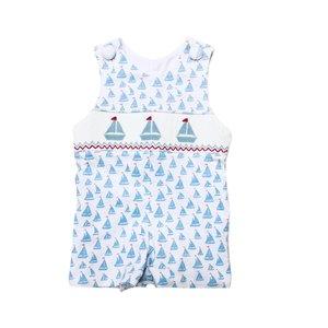 Delaney Boys Soft Blue Knit Smocked Sailboat Jon Jon