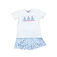 Delaney Boys White Smocked Sailboat T-shirt Soft Blue Knit Short Set