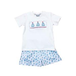 Delaney Boys White Smocked Sailboat T-shirt Soft Blue Knit Short Set