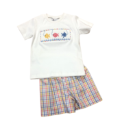 Delaney Boys White Smocked Fish T-Shirt/Summer Plaid Shortset