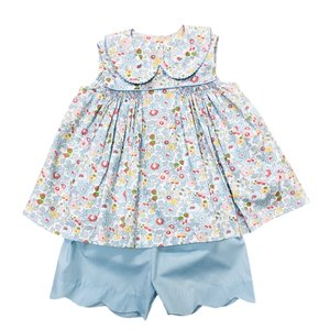 Delaney Blue Floral Sleeveless Smocked Front Peter Pan Collar Short Set