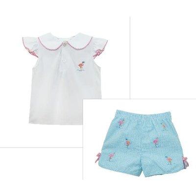 Zuccini Flamingo Embroidered Short Set