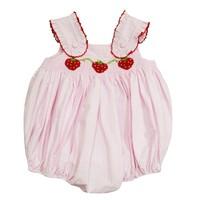Zuccini Strawberries Smocked Rachel Pink Seersucker Bubble