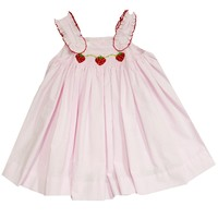 Zuccini Strawberries Smocked Rachel Pink Sersucker Dress