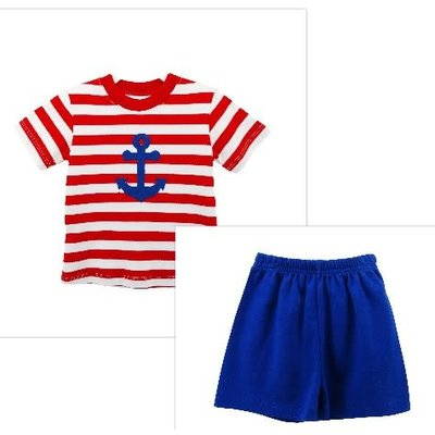 Zuccini Anchor Applique Short Set