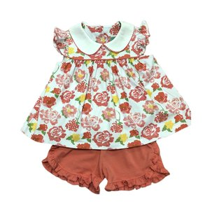 Sage & Lilly Key West Coral Floral Angel Wing Top Short Set