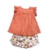 Sage & Lilly Key West Coral Scallop Collar Floral Short Set