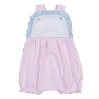 Baby Bliss Pink Tiny Stripes Pima Sun Bubble w/Blue