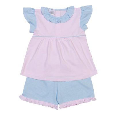 Baby Bliss Pink Tiny Stripes Pima Short Set w/Blue Trim